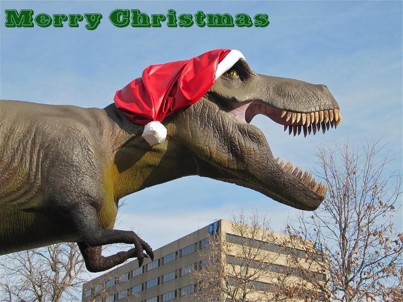 Christmas Dinosaur.Christmas Dinosaur